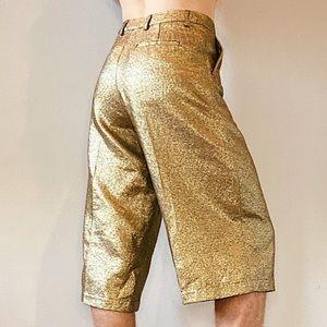 Scotch & Soda Metallic Gold Cropped Trousers